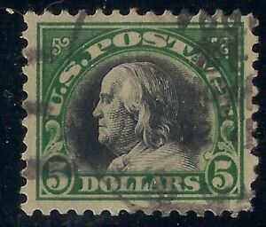 Scott #524 $5 Franklin with with black face free cancel, JUMBO