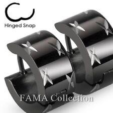 Fama Stainless Steel Black Hinged Hoop Wide Earrings with Multi Dia-Cuts