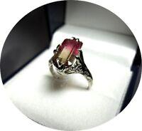 14k Ring - Bi-Color WATERMELON Tourmaline -Vintage Filigree - White Gold Mtg.