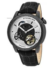 Stuhrling 686 01 Tesla Dual Time Open Heart Automatic Black Leather Mens Watch