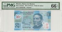 Mexico PMG Certified Banknote UNC 66 EPQ Gem Polymer 2013 20 Pesos
