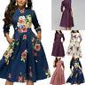 Women Retro Bodycon Dresses Tunic 3/4 Long Sleeved Floral Print Vintage Dress