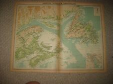 HUGE FOLIO ANTIQUE 1922 MARITIME PROVINCES NEWFOUNDLAND CANADA TIMES ATLAS MAP