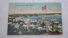 Vintage Linen Bermuda Postcard Birdseye View of Ye Towne of St George's Unposted