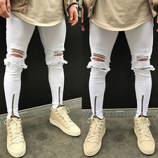 Men's Distressed Ripped Destroyed Wash Denim Zipper Ankle Skinny Jeans