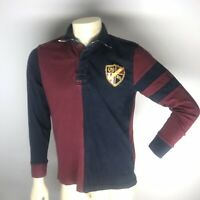 Tommy Hilfiger Vintage Mens Small Sz S Rugby Long Sleeve Shirt Stripe Crest Blue