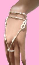Bridal pearl and bead  floral hand bracelet Slave Bride USA