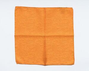"Battisti New Orange Tonal Paisley Print 100% Silk Designer Pocket Square 13"""