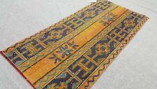 Oushak Rug 2x4 feet, Vintage, Turkish, Orange, Bohemian, Area, Anatolian, Kilim