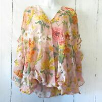 New Umgee Top 1X Sheer Pink Floral Ruffle Sleeve Boho Peasant Plus Size