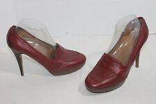 J.Crew Red Leather Biella Loafer Heels Women's Sz 9