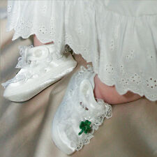 NIB Girls Shoes B655SH Baptism Satin With Green Shamrock CLOSEOUT