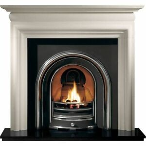 Limestone surround highlight polished cast arch granite hearth and gas fire