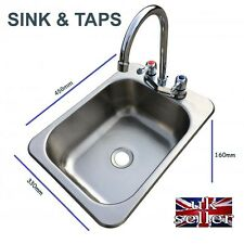 Stainless SINK, Waste, Plug & Taps - Ideal Small Camper Motorhome - SELF BUILD