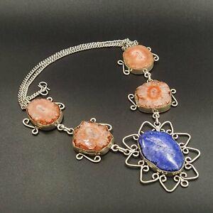 925 Sterling Silver Plated Multi Color Solar Quartz Necklace Jewelry NEC4