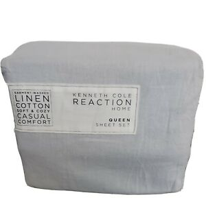Kenneth Cole GARMENT WASHED Linen/Cotton Queen sheet set sky