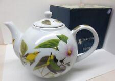 Audubon Fine Porcelain Teapot Blue Winged Warbler Bird 2010 Godinger w/ Infuser