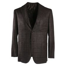 NWT $7495 KITON Brown-Blue Check Cashmere-Silk-Linen Sport Coat 38 S