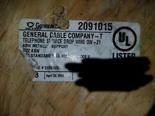 General Cable 4298 22/6P Telephone ASW Aerial Service Drop Wire Messenger /100ft