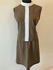 Vintage Gay Gibson Brown and White Polka Dots 2 Piece Top Skirt Set size S SK2