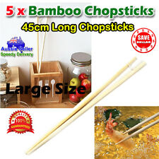 5 pairs 45cm Long Oriental Bamboo Chopsticks Wooden Fry Frying Food Cooking