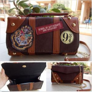 Harri Potter Hogwarts PU School Badge Wallet Hand Satche Purse Bag Package Gift