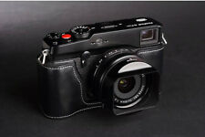 Handmade Black Leather Half Case Bag for Fuji X-PRO 1 XPRO1 Camera