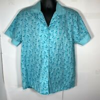 Disney Store Blue Mickey Mouse Women's Large Button Up Blouse Shirt / Pajama Top