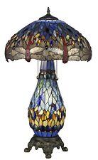 "Tiffany Style Dragonfly Blue Table Lamp W/Illuminated Base 18"" Shade"