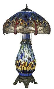 "Tiffany Style Dragonfly Blue Table Lamp W/Illuminated Base 18"" Shade"