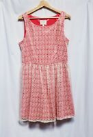 GB Women's Sleeveless Dress Size 13 (Orange & Khaki-Lace Overlay)