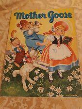 1939 Mother Goose Book Oversized Antique Children's Books Color Illustrations