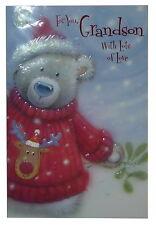 (219) Single Christmas Card - Grandson - Bear