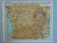 1933 Mapa Central África Belga Congo Tanganyika Angola Rodesia Cameroons
