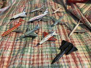 """Lot of 10 Vintage Die-cast Metal 3-4"""" Airplane Toys"""