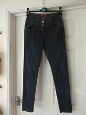 High Waisted Jeans by INTERNACIONALE Blue Denim Slim Fit Skinny Leg UK Size 10