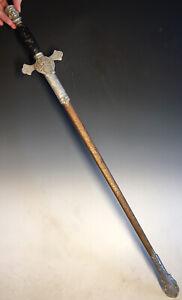 20th C. Knights of Columbus Utica NY Kelly Masonic Freemason Sword w/ Scabbard
