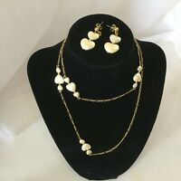 Gold tone Figaro chain w/ Faux Pearl Hearts 30 inch necklace and Earrings SET