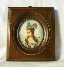 Ancienne miniature portrait de femme signé ancient female Miniatur-Porträt XX th