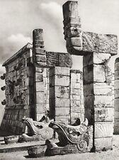 1934 Vintage 11x14 ~ MEXICO ~ Yucatan Mayan Ruins Temple Architecture Photo Art