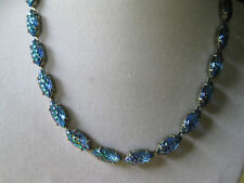 VINTAGE BLUE AURORA BOREALIS CHOKER NECKLACE ELONGATED FACETED STONES 15 1/2""