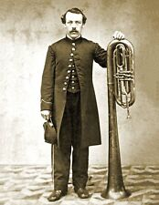 1861-1865 Union Soldier with a Saxhorn Vintage Old Photo 8.5
