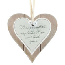Love Heart Sign Wooden Hanging Wall Plaque Rustic Gift - Love you to the Moon