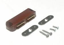 * Lot de 100 Double Loqueteau Magnétique Avec Plaque & Vis De Fixation Marron 5 Kg Pull
