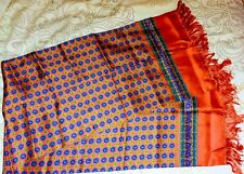 """Red and Blue Oriental Hand Printed Silk scarf 12""""x49"""""""