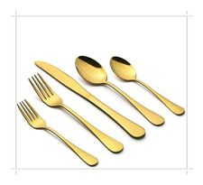 Lianyu 40-Piece Gold Silverware Flatware Set for 8, Stainless Steel Cutlery Gold