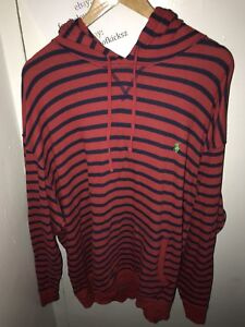 BIG & Tall 3XB Polo Ralph Lauren Red Shirt Hoodie With Navy Blue Stripes