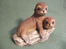 Homco Masterpiece Collection 1981 Porcelain Two Seals Sea Lions Figurine
