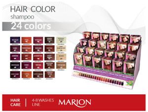 Marion Hair Colouring Shampoo Dye Sachet with Keratin and Aloe, 2 pcs/set