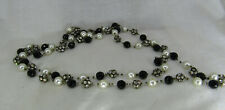 "Vintage Flapper 56"" Facet jet black Glass, Rhinestone & Pearl Beaded Necklace"